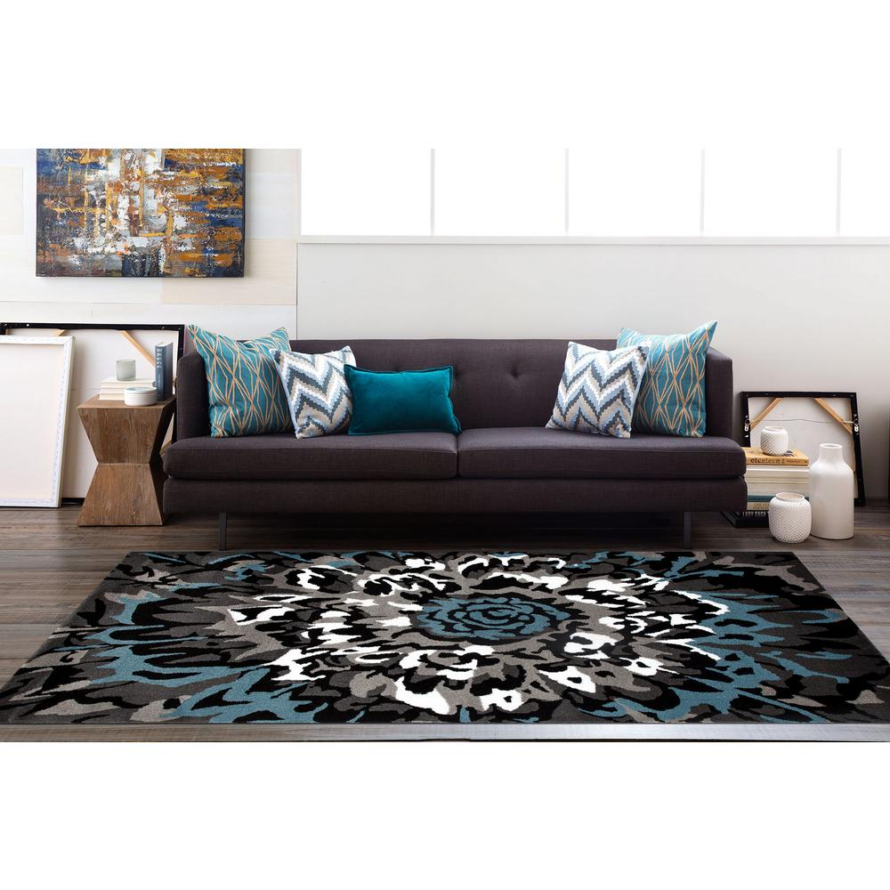 Modern Large Fl Pattern Blue Gray 9 Ft X 12 Area
