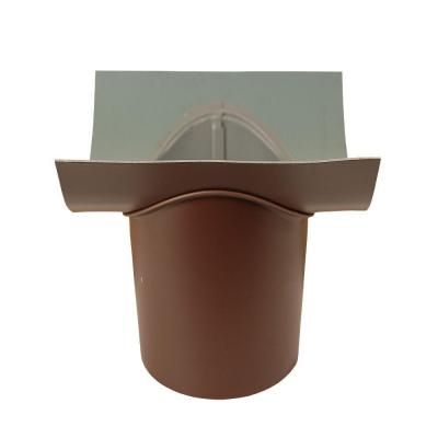 4 in. Royal Brown Aluminum Half-Round B Outlet Wide Flange