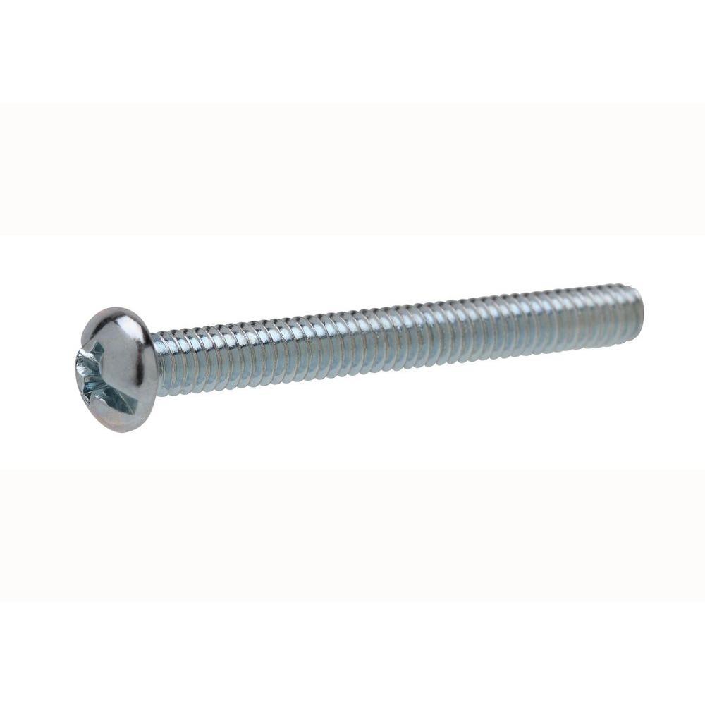 #10-24 tpi x 4 in. Zinc-Plated Round Head Combo Machine Screw (2-Pack)