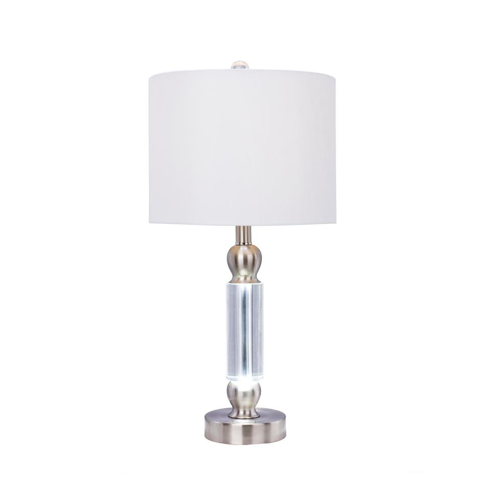 23.75 in. Clear Crystal and Brushed Steel Metal Table Lamp with