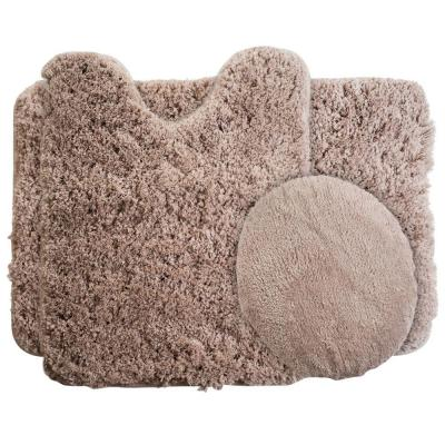 Taupe 19.5 in. x 24 in. Super Plush Non-Slip 3-Piece Bath Rug Set