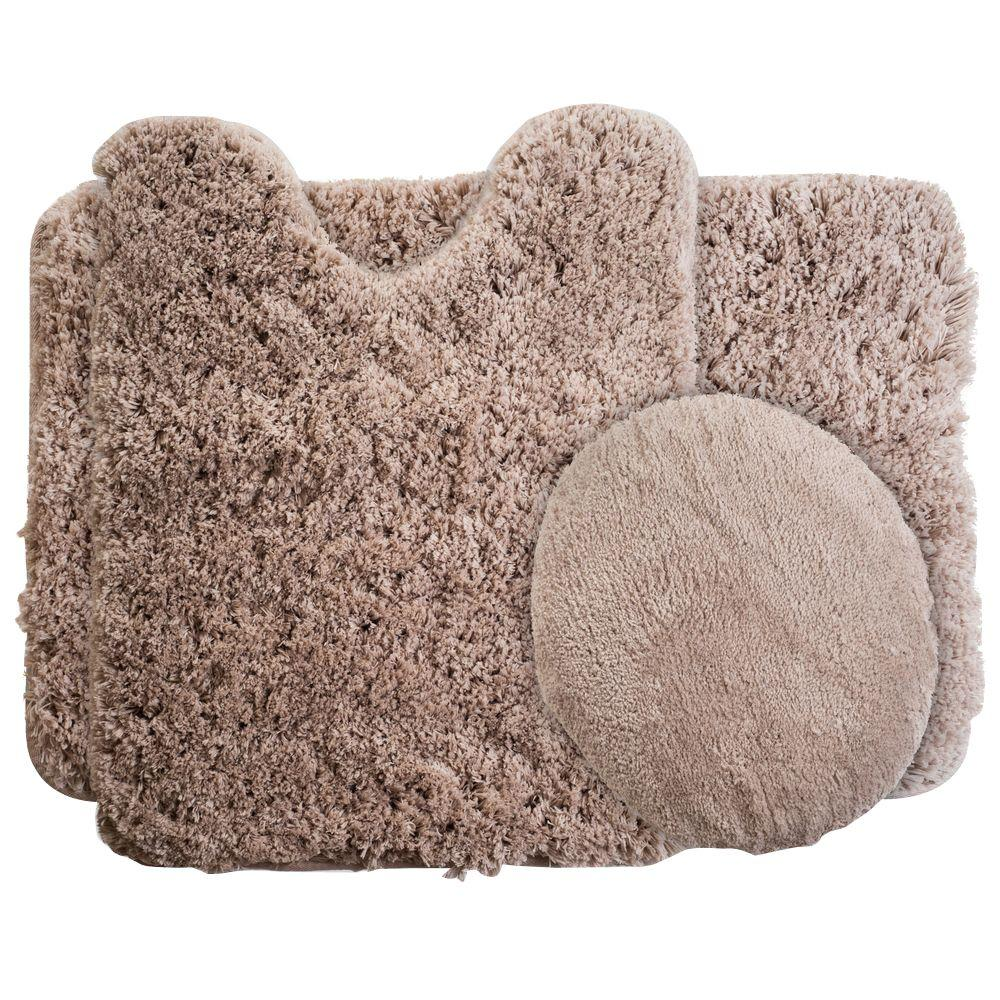 Plush Bathroom Rug Sets: Lavish Home Taupe 19.5 In. X 24 In. Super Plush Non-Slip 3