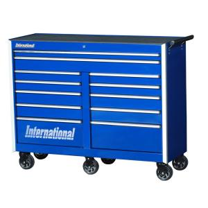 International Pro Series 54 inch 12-Drawer Roller Cabinet Tool Chest in Blue by International