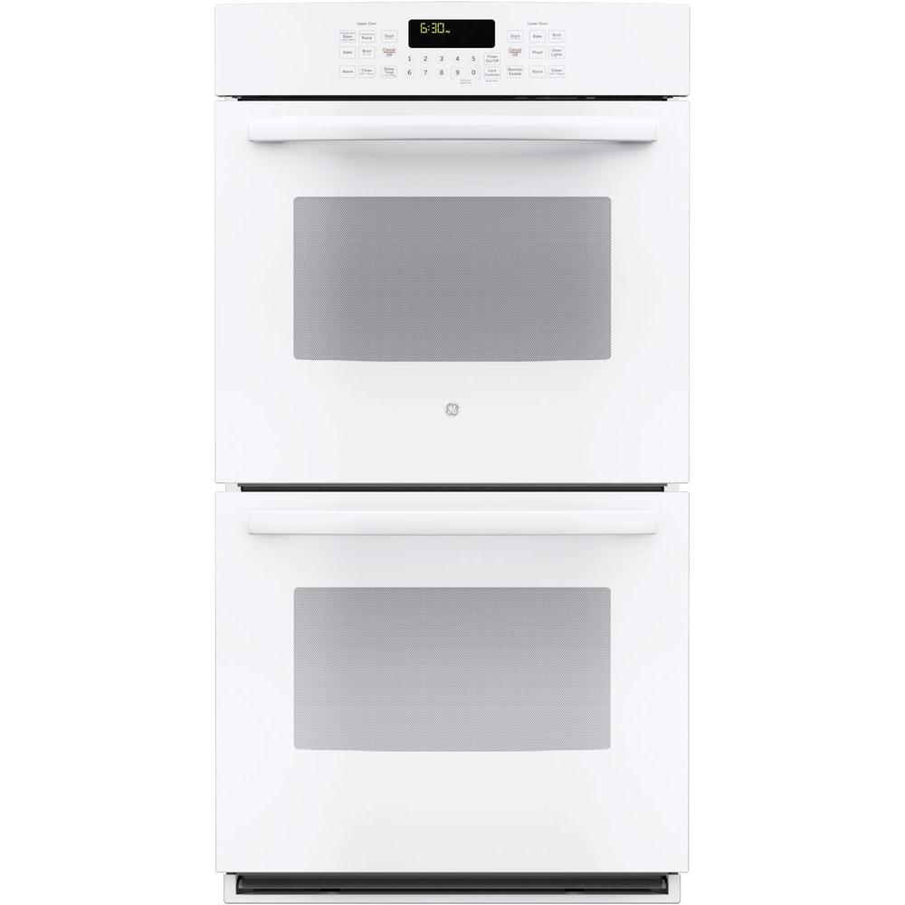 GE Profile 27 in. Double Electric Smart Wall Oven Self-Cleaning with Steam Plus Convection and WiFi in White