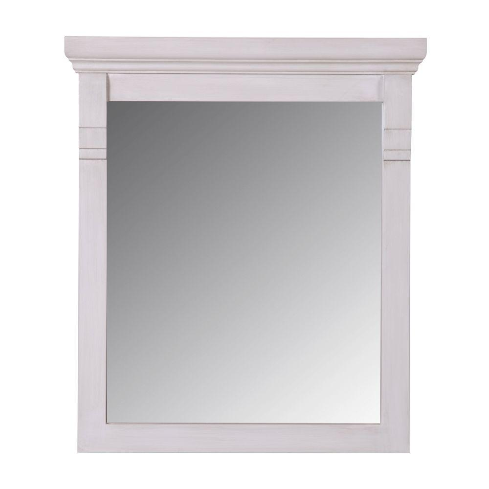 St. Paul Classic 30 in. x 22 in. Wall Mirror in Antique White