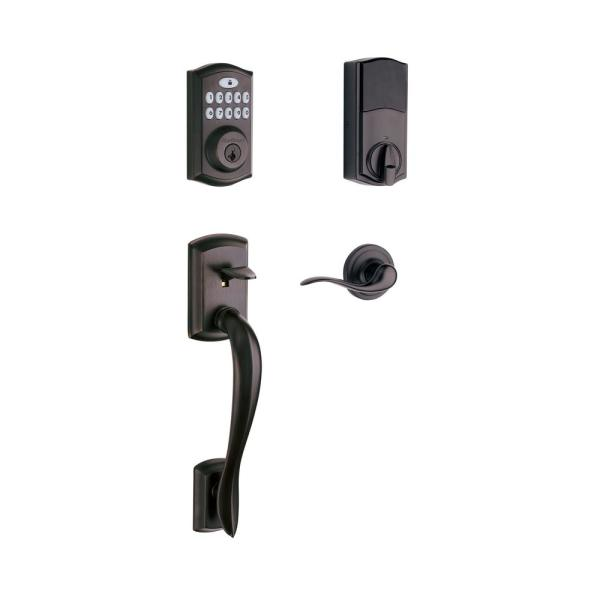 Z-Wave SmartCode 914 Venetian Bronze Single Cylinder Electronic Deadbolt with Avalon Handleset and Tustin Lever