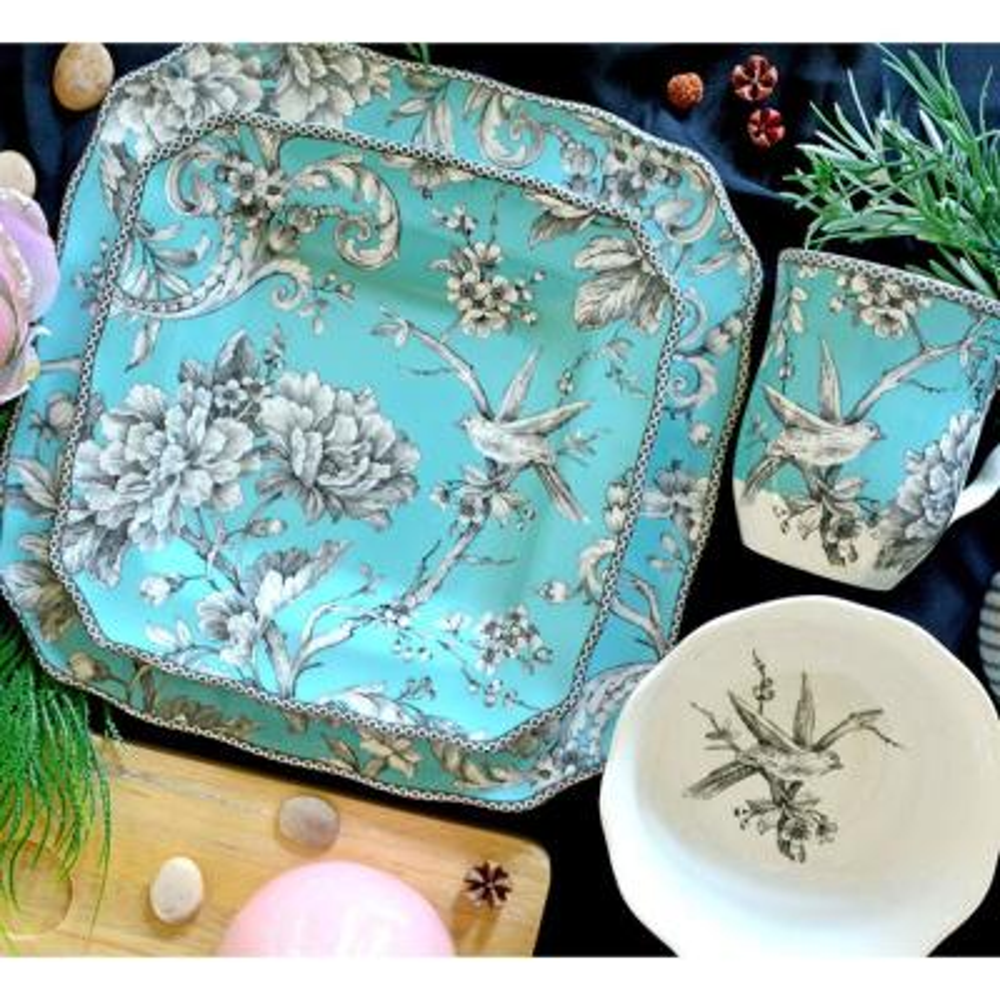 Adelaide Turquoise 16-Piece Dinnerware Set