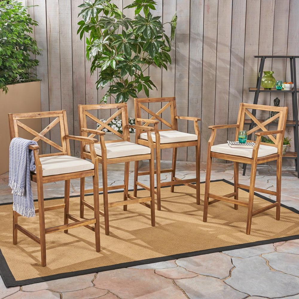Fabulous Noble House Perla Teak Brown Wood Outdoor Bar Stool With Cream Cushion 4 Pack Bralicious Painted Fabric Chair Ideas Braliciousco