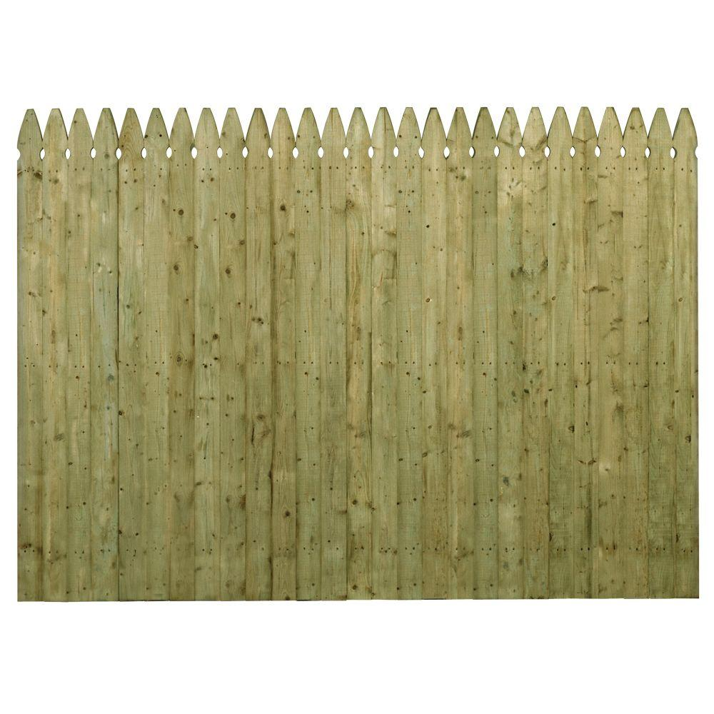 Barrette 6 Ft H X 8 Ft W Pressure Treated 4 In French Gothic Stockade Fence Panel 73000446 The Home Depot
