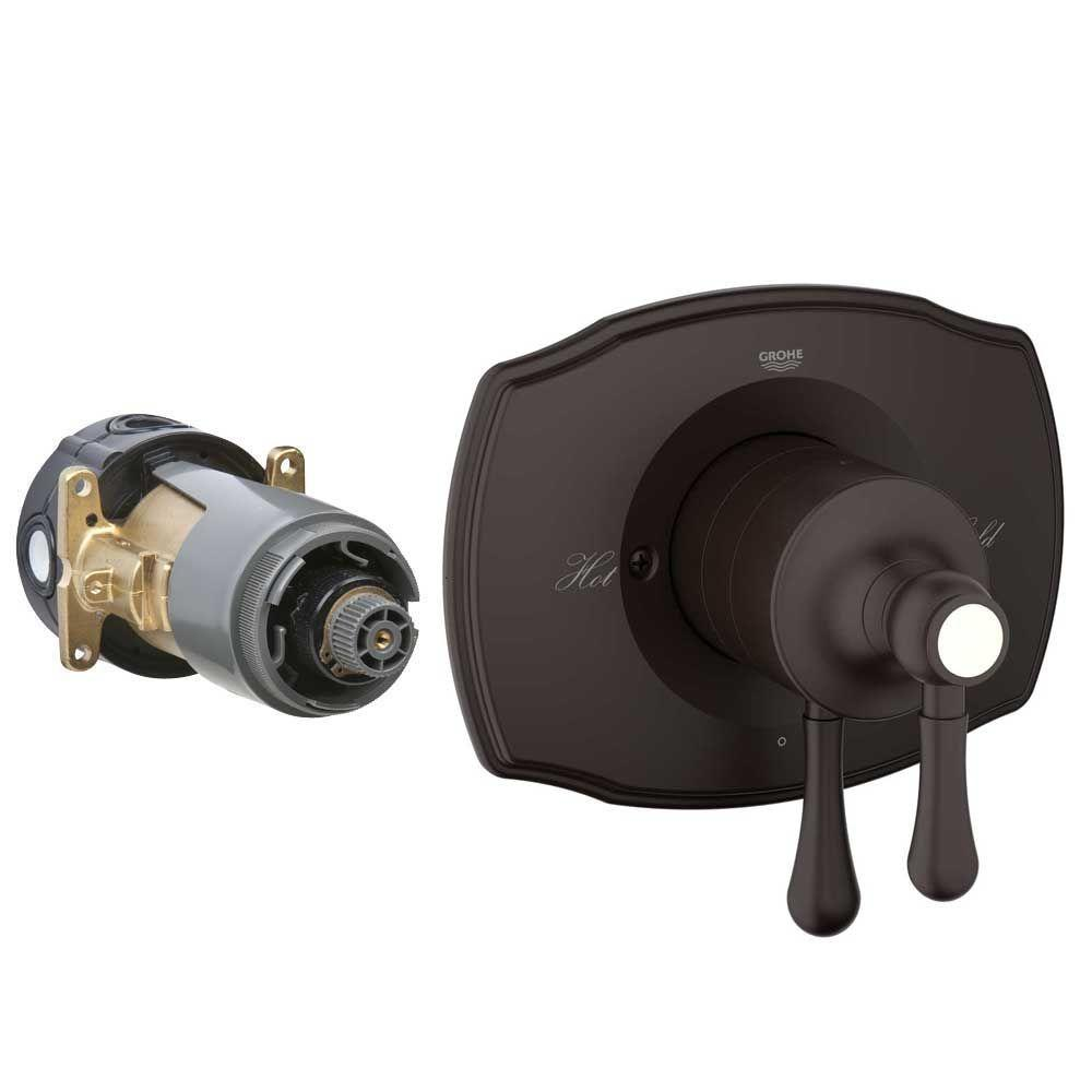 GROHE Authentic 2-Handle GrohFlex Rough-In Box Dual Function Pressure Balance Valve Kit in Oil Rubbed Bronze