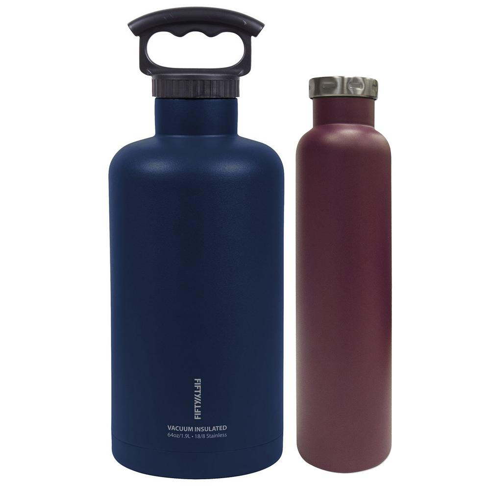 FIFTY/FIFTY Outdoor Insulated Beer and Wine Bottle Bundle, Blue and Burgundy
