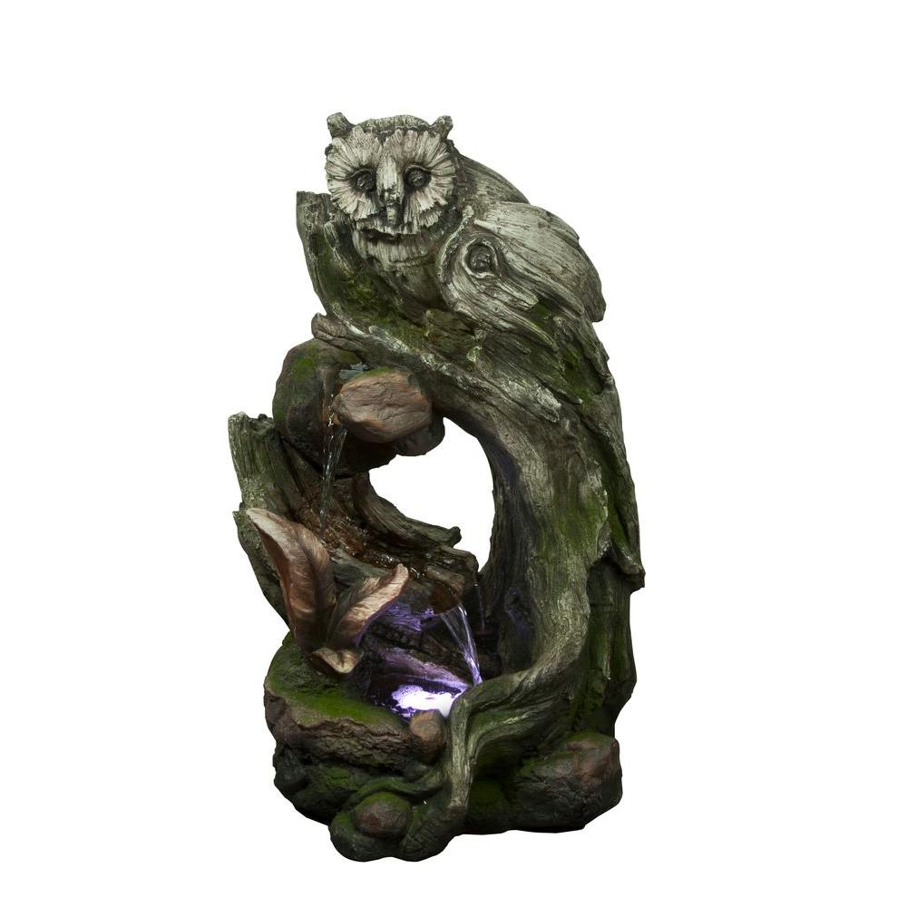 32 in. Owl Rainforest Tree Trunk Fountain with White LED Light