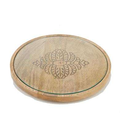 Brown Bamboo Serving Tray Round Cheese Platter Decorative Display Tray with Glass Top