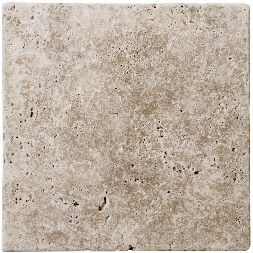Trav Fontane Tumbled Walnut 3.94 in. x 3.94 in. Travertine Wall Tile