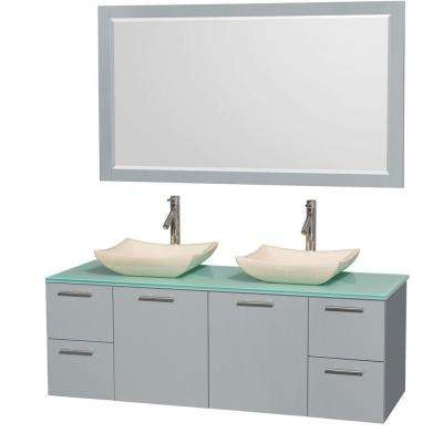 Amare 60 in. W x 22.25 in. D Vanity in Dove Gray with Glass Vanity Top in Green with Ivory Basins and 58 in. Mirror