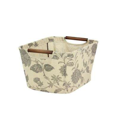 7.5 in H x 13 in W Tapered Canvas Storage Bin with Handles in Tan with Black Floral Design