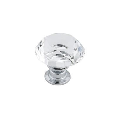1-3/16 in. (30 mm) Clear, Chrome Contemporary Metal, Crystal and Glass Cabinet Knob
