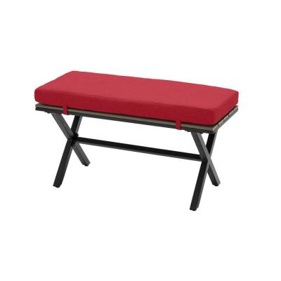 Laguna Point Brown Steel Wood Top Outdoor Patio Bench with CushionGuard Chili Red Cushions