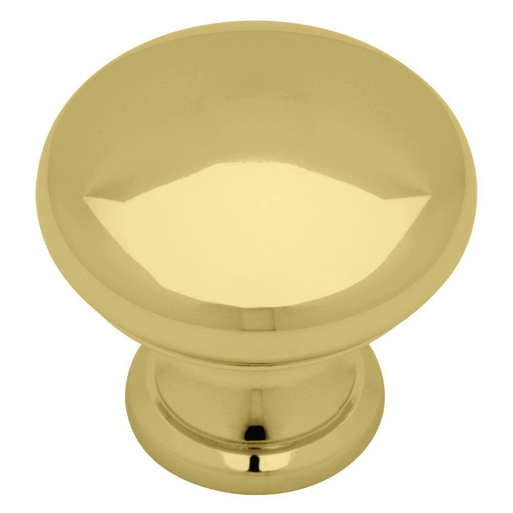 Classic 1-1/4 in. (32mm) Polished Brass Hollow Round Cabinet Knob