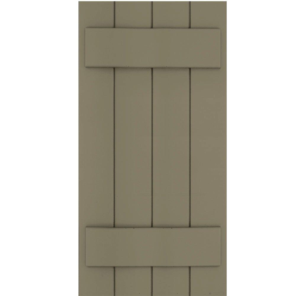 Winworks Wood Composite 15 in. x 31 in. Board & Batten Shutters Pair #660 Weathered Shingle