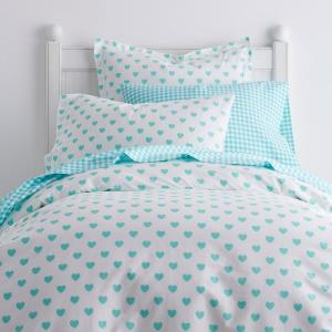 Sweetheart Turquoise Cotton Percale Queen Duvet Cover