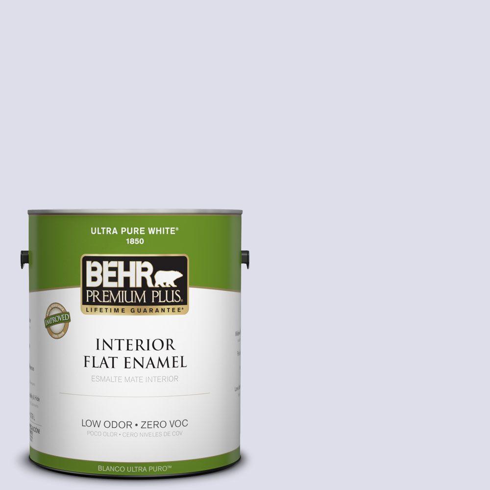 BEHR Premium Plus 1-gal. #640C-1 Hosta Flower Zero VOC Flat Enamel Interior Paint-DISCONTINUED