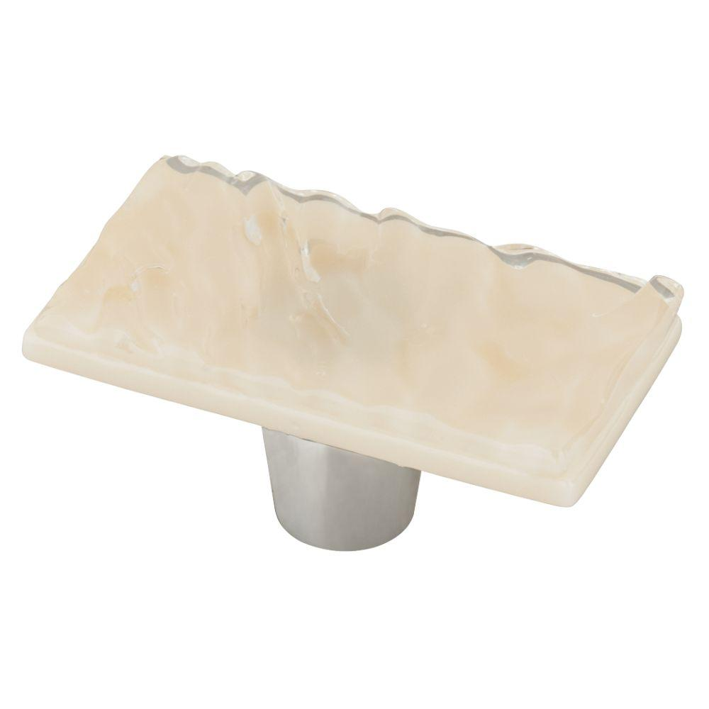 Homegrown Hardware by Liberty 2 in. Wave Cream Rectangle Glass Cabinet Knob