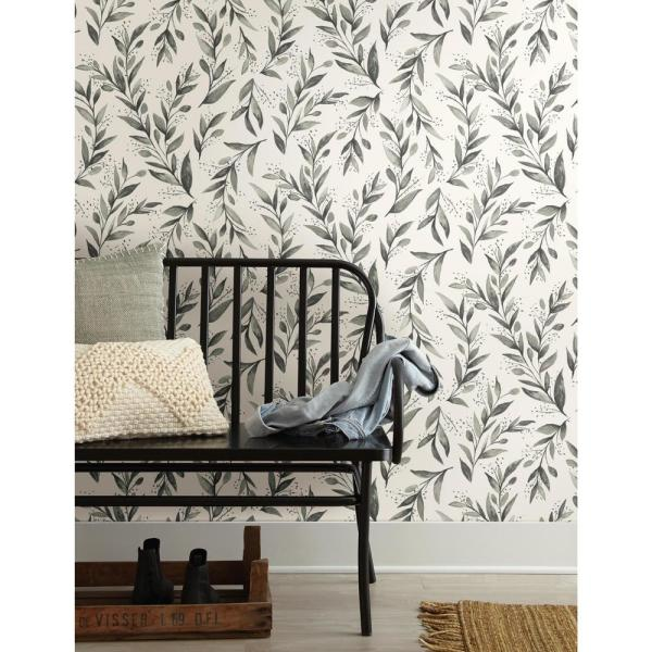 Magnolia Home By Joanna Gaines Olive Branch Charcoal Paper Peelable Roll Covers 34 Sq Ft Psw1003rl The Home Depot