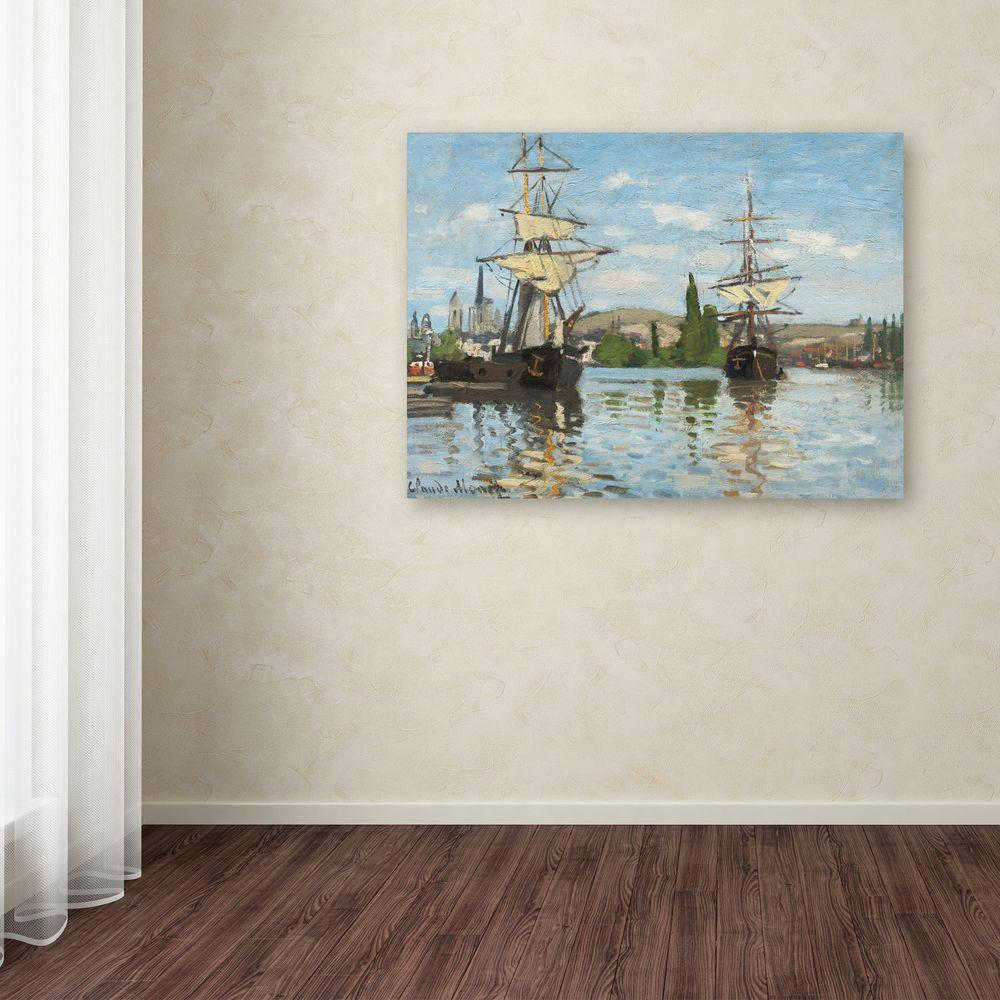 """35 in. x 47 in. """"Ships Riding on the Seine"""" Canvas"""