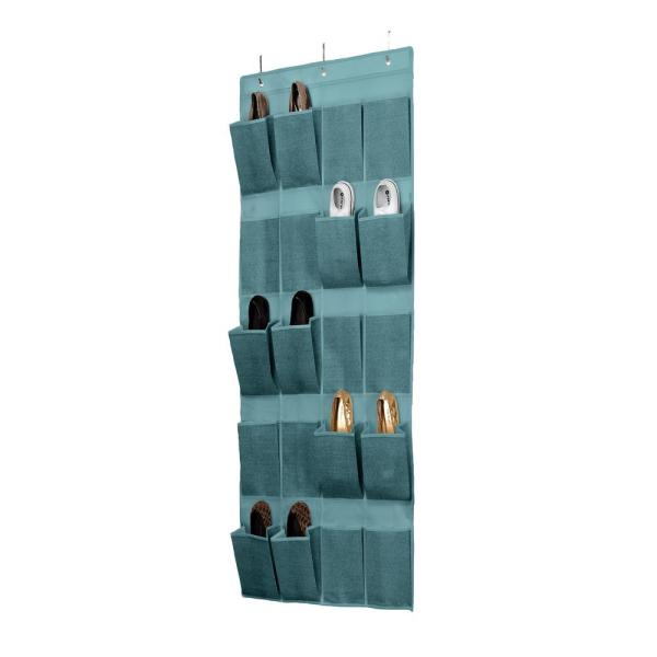 Simplify 20 Pocket Over The Door Shoe Organizer 25426 Dustyblue The Home Depot