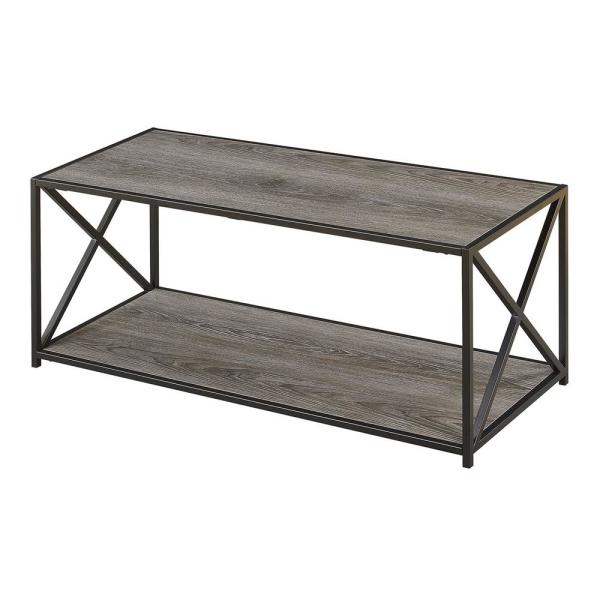 Tucson 42 in. Weathered Gray Large Rectangle Wood Coffee Table with Shelf