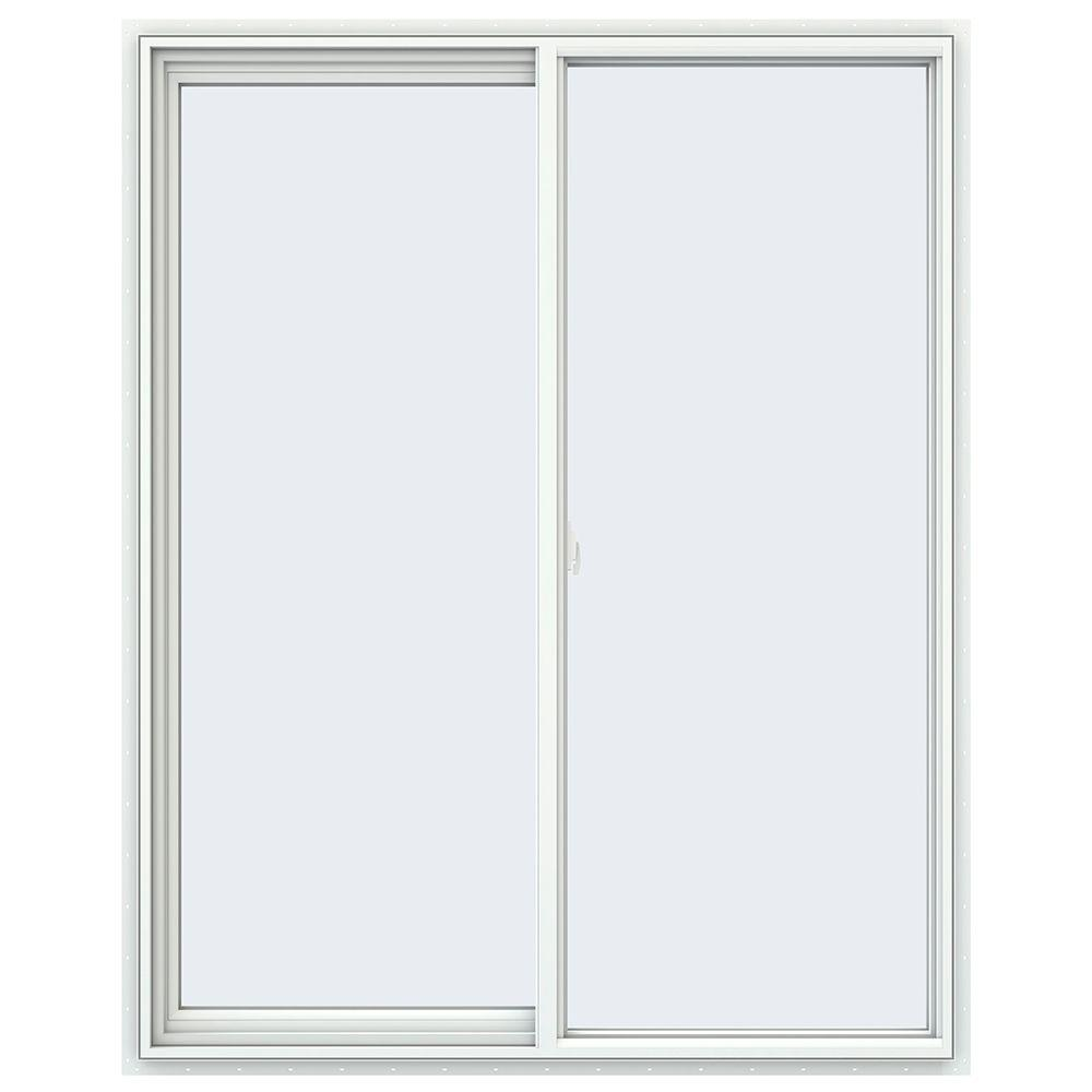 JELD-WEN 47.5 in. x 59.5 in. V-2500 Series White Vinyl Left-Handed Sliding Window with Fiberglass Mesh Screen