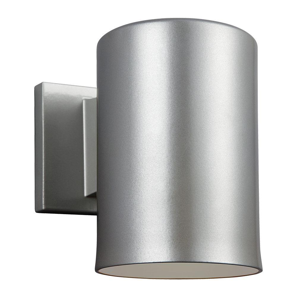 Outdoor Cylinder Collection 1 Light Painted Brushed Nickel Wall Lantern