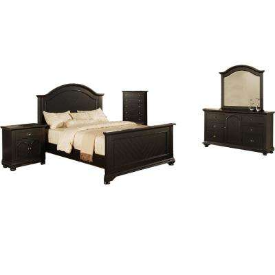 Hyde Park 5 Piece Black Bedroom Suite with King Bed, Dresser, Mirror, Chest, Nightstand
