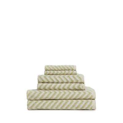 Chevron 6-Piece 100% Cotton Bath Towel Set in Sage