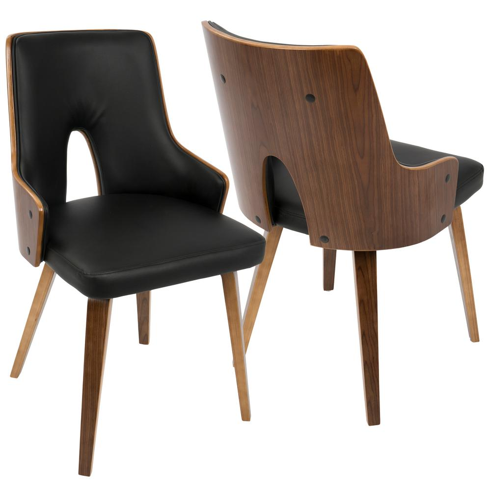 Lumisource stella mid century walnut and black modern for Faux leather dining chairs