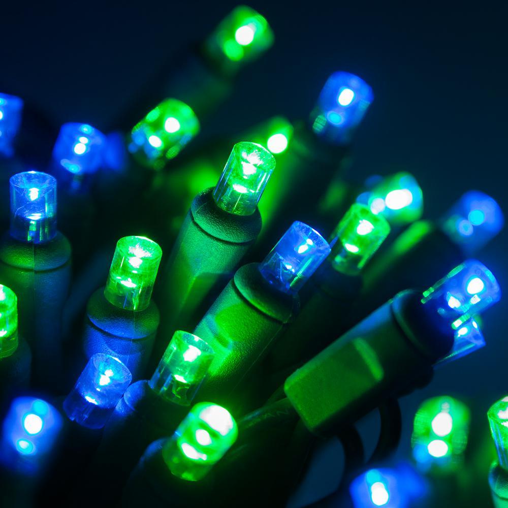 24 ft. 70-Light Blue and Green 5 mm LED Mini Light Set