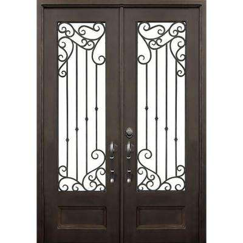 72 in. x 96 in. Lakeland Dark Bronze Classic 3/4 Lite Painted Wrought Iron Prehung Front Door (Hardware Included)
