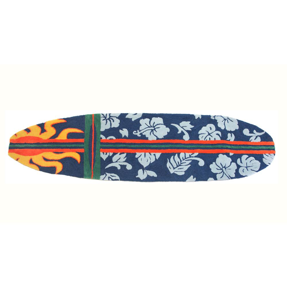 Surfboard Area Rug: Surfboard Hawaiian Navy 2 Ft. X 6 Ft. Multi-Colored Area