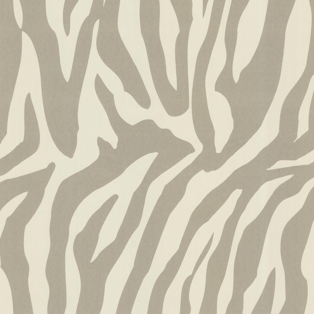 Zebbie Taupe Zebra Print Wallpaper