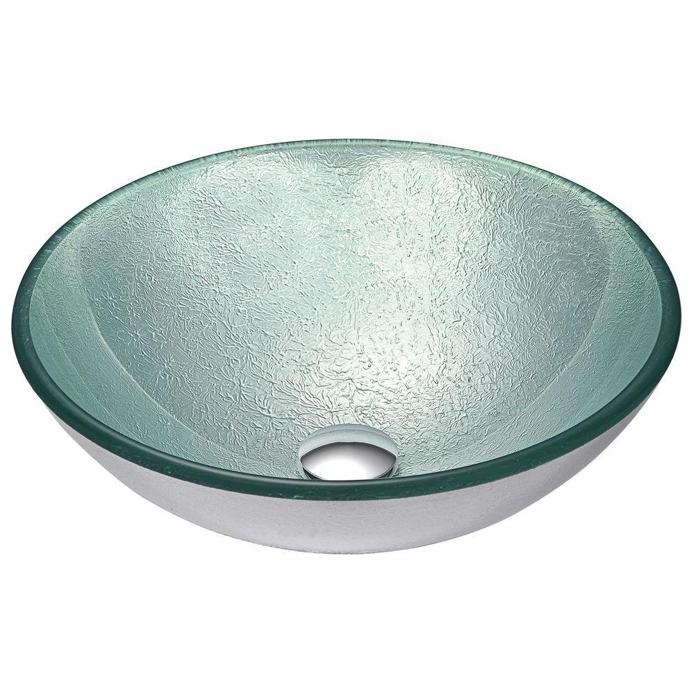 Wonderful ANZZI Spirito Series Deco Glass Vessel Sink In Churning Silver
