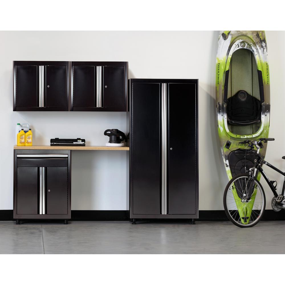 75 in. H x 96 in. W x 18 in. D Welded Steel Garage Cabinet Set in Black (5-Piece)