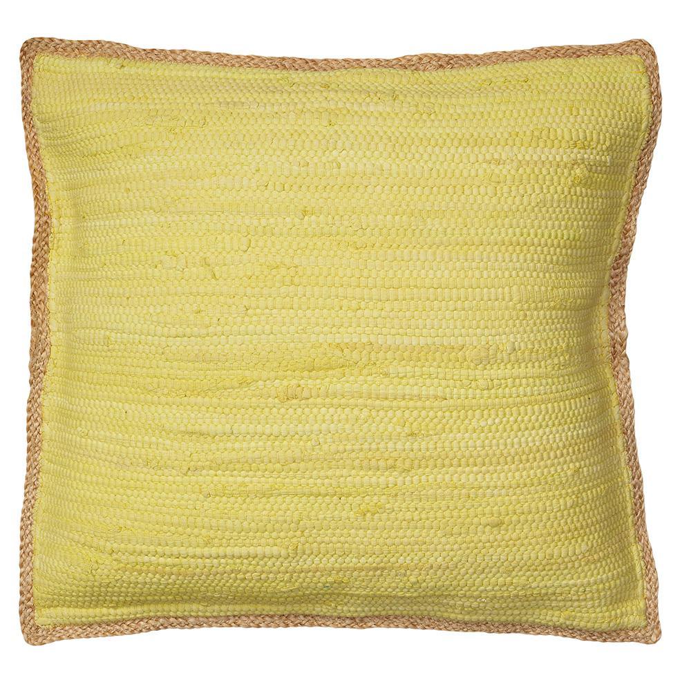 Riley Yellow 20 in. x 20 in. Chindi/Jute Decorative Throw Pillow