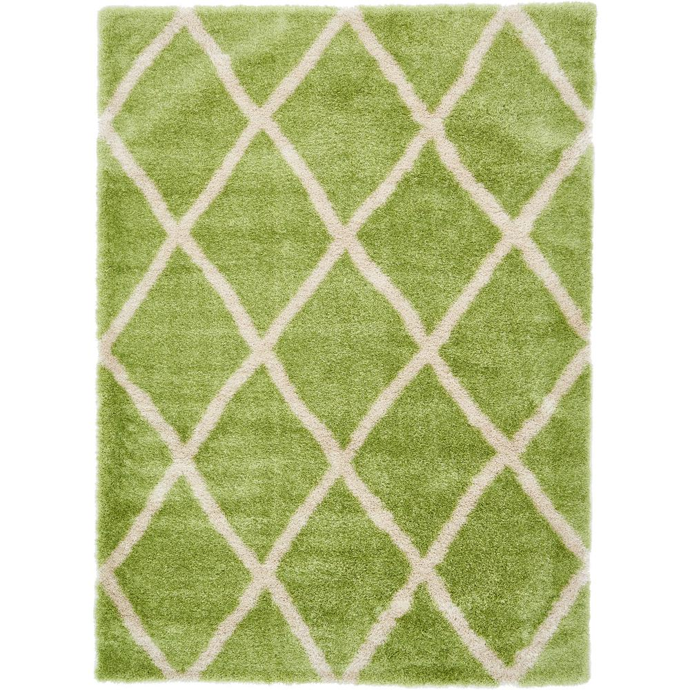 Unique Loom Luxe Trellis Shag Light Green 8 ft x 11 ft Area Rug