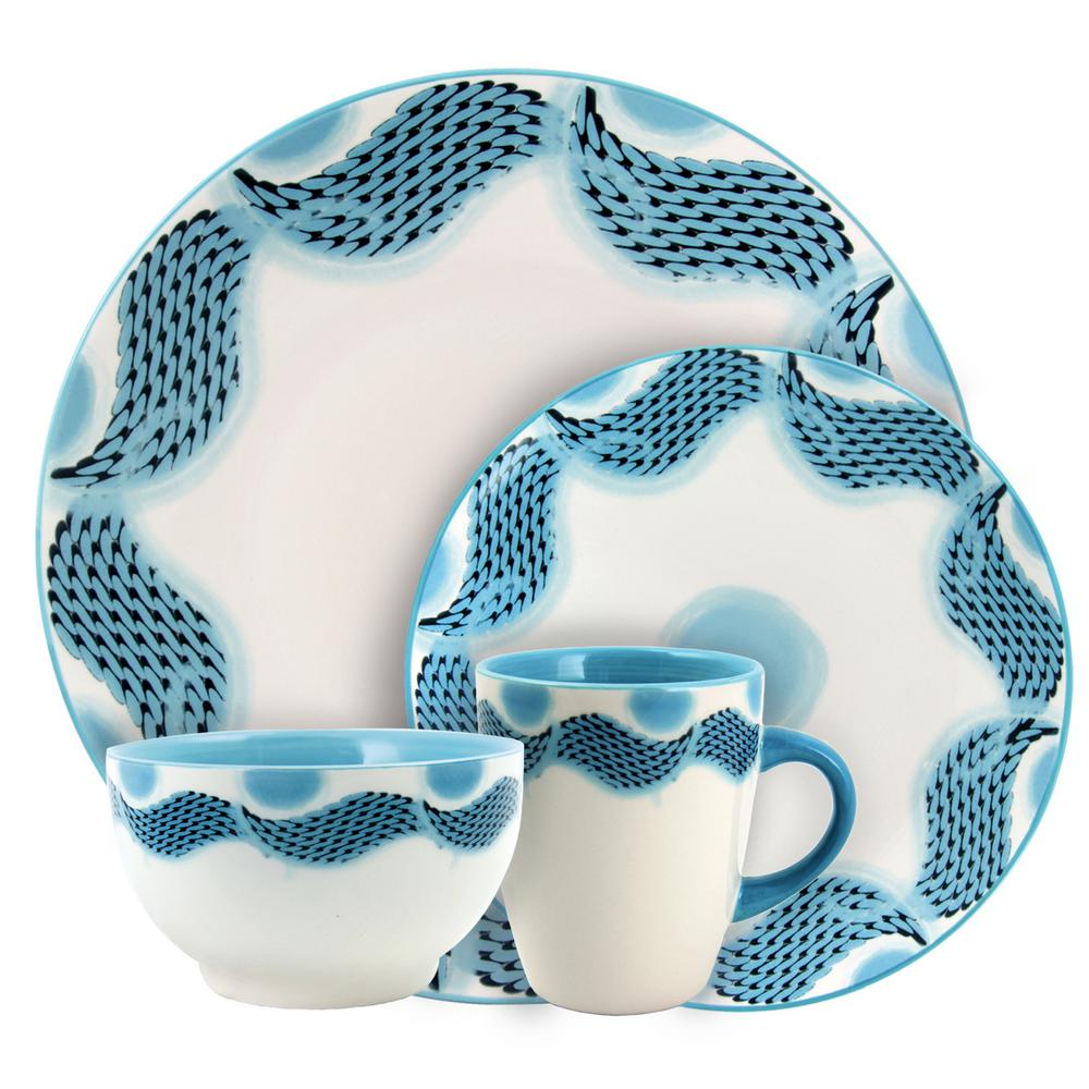 Seashore Breeze 16-Piece Blue Service for 4-Stoneware Dinnerware Set