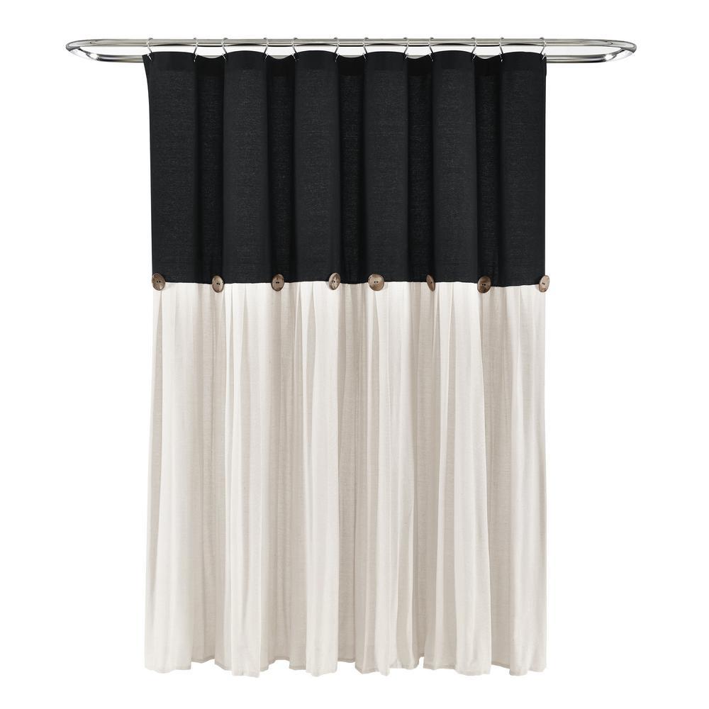 Linen Button Shower Curtain Black/White Single 72X72