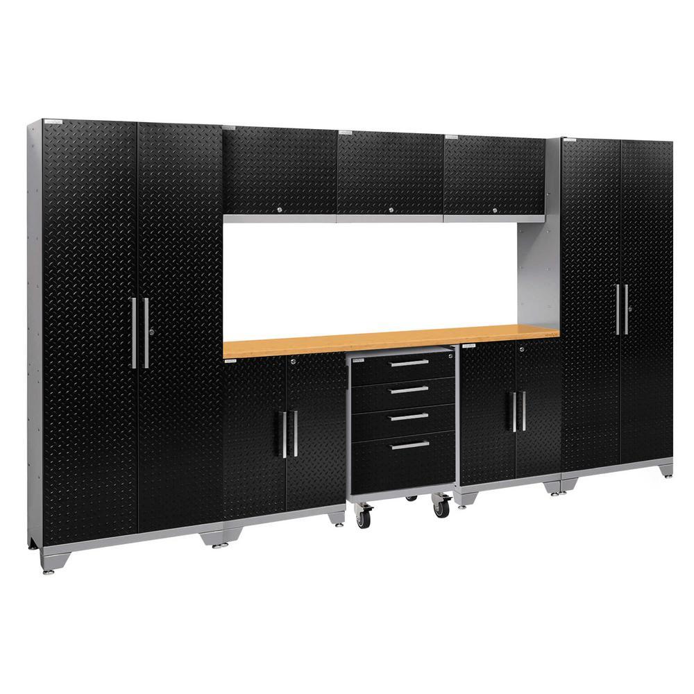 Performance 2.0 Diamond Plate 77.25 in. H x 132 in. W x 18 in. D Steel Bamboo Worktop Cabinet Set Black (9-Piece)
