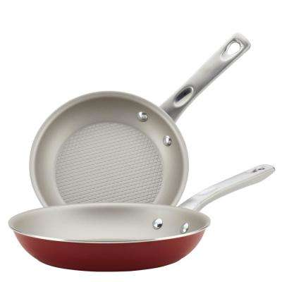 Home Collection 2-Piece Sienna Red Porcelain Enamel Nonstick Skillet Twin Pack