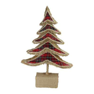 17 in. Red Plaid Country Rustic Tree Christmas Table Top Decoration