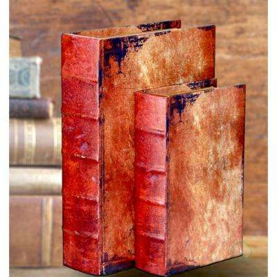 12 in. x 8 in. x 3 in. Wood Faux Leather Vintage Book Shaped Box, Set of 2 Sizes
